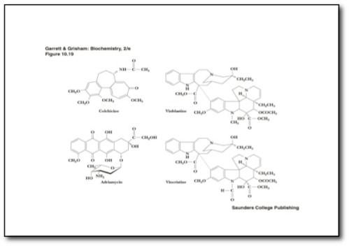 Image description: An image from the publishers text that contains various wire diagrams of the molecular structure of certain medications all used to treat various cancers. There are four images. Colchincine, Vincristine, Adriamycin, Vinblastine.