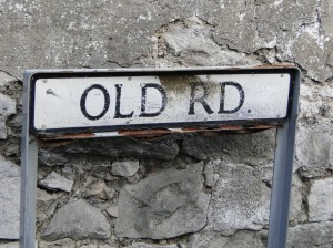 Old Road way marker in Llandudno, North Wales.