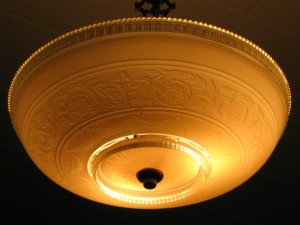 Bowl-shaped light fixture from 1920s US art deco era.