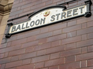 Ballon Street street sign in Manchester, England.