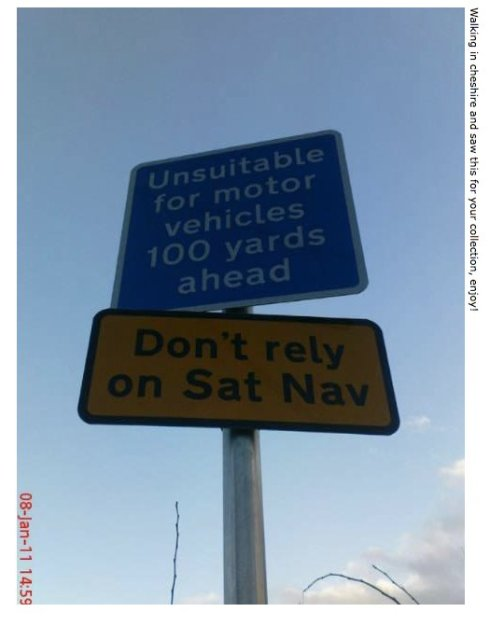 Don't Rely on Sat Nav