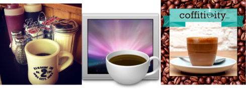 Image of 3 coffee cups: one at a coffeeshop, one for the Caffeine software, one for Coffitivity software