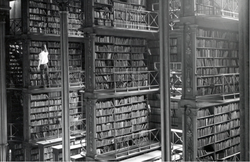 Books Stacks at Cincinnati Public Library, circa 1900. Photo from Public Library of Cincinnati & Hamilton County
