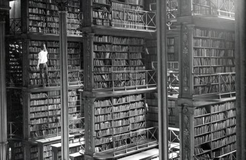 Books Stacks at Cincinnati Public Library, circa 1900. Photo from Public Library of Cincinnati & Hamilton County