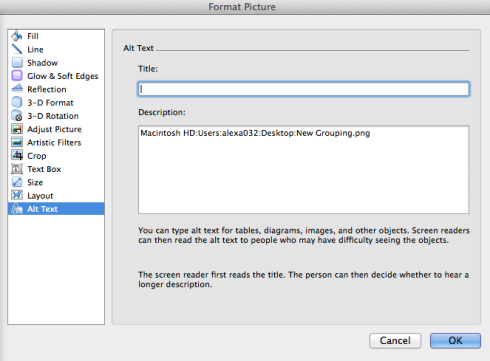 To insert Alt Text in the Format Picture dialog box, click on the Alt Text phrase in the menu at the left of the box.