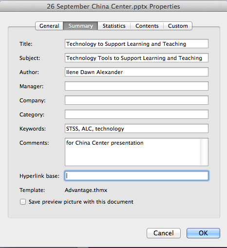 "This image shows the ""Summary"" tab in the Properties dialog box.  Here document creators can add title, subject, author, keyword and comment information."