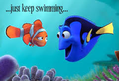Two fish characters from the movie Finding Nemo are poised to talk with one another in an underwater reef; the blue fish on the right is Dory, and she's speaking her most noted line from the movie: Just Keep Swimming.""