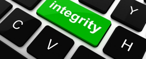 "The word ""integrity"" is displayed as a key at the center of a standard computer keyboard, situated between the D and H keys. This images originally appeared on the Swedish Acreo ITC website at https://www.acreo.se/ensuring-user-integrity-when-handling-internet-traffic-data-1."
