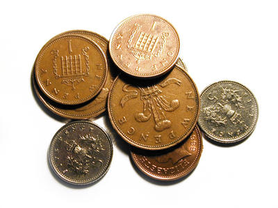 as few pence in english coins