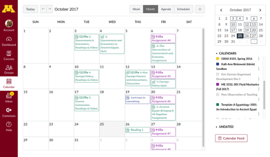 Decorative Image that displays the Calendar view in Canvas.